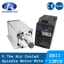 High Speed CNC Lathe Router Milling Air Cooling Water Cooled AC Spindle Motor 0.7kw DC Brushless Spindle Motor with Inverter Kit