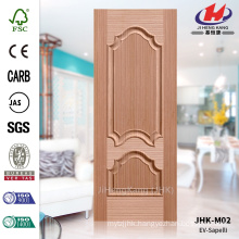 JHK-M02 Best Rased Texture Emossed Press Decorative Exterior EV Sapele HDF Molded Expensive Door Panel