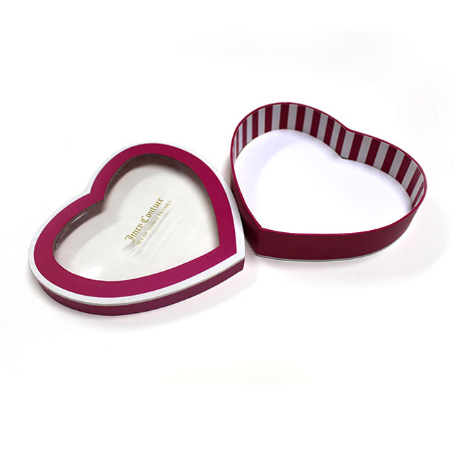 Paper Board Heart Shape Gift Box With Window