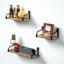 Iron and Wood Storage Display Book Decorative Wall Shelf Iron and Wood Storage Display Book Shelf Set of 3
