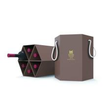 Hexagon goldene Eule sechs Flaschen Wein Geschenkbox