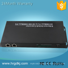 8 fiber port 2 RJ-45 single fiber ip tv converter