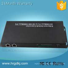 8 porta de fibra 2 RJ-45 de fibra única conversor de tv ip