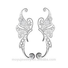 Sterling Silver Dancing clip papillon sur les boucles d'oreilles