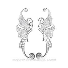 Prata esterlina dançando borboleta clipe em brincos