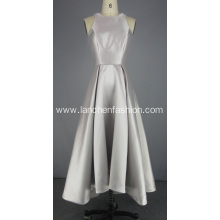 Silver Knee Length Prom Dress Evening Gown