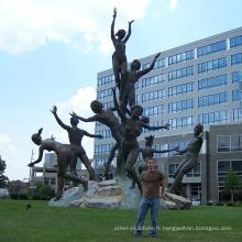 Sculpture de jardin moderne métal artisanat vie statues nues pour musica sculpture