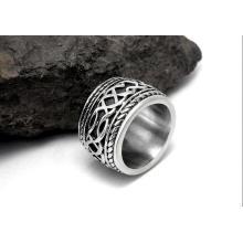 Estilo punk moda anillos de acero inoxidable Twist patrón