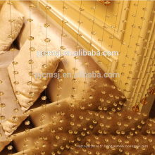 vente chaude cristal en forme de vague perles rideau ambre pour la décoration de la maison qui respecte l'environnement