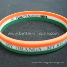 Pulsera de colores personalizada de silicona de rayas