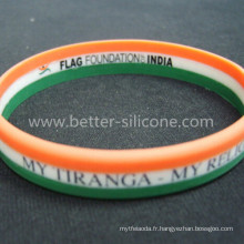 Bracelet en silicone à rayures coloré personnalisé