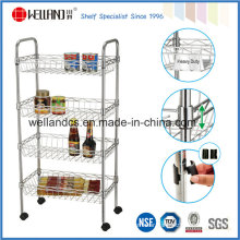 NSF Approval Chrome Metal Wire Kitchen Basket Rack Trolley