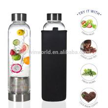 Botella de agua aislada de cobre al por mayor del vidrio de borosilicate de consumición de la pared doble al por mayor