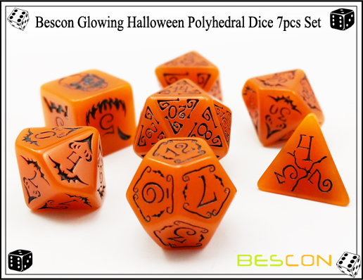 Bescon Glowing Halloween Polyhedral Dice 7pcs Set-6