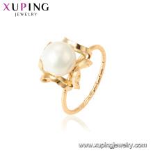 15457 xuping 18k banhado a ouro moda funky imitação pérola anel para senhoras
