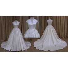Short Sleeve Beaded Stain Wedding Dress 2016 New Style