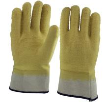 Luvas de mão revestidas de látex de borracha amarela NMSAFETY