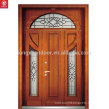 Red walnut veneer laminated wood door double main door carving designs