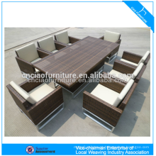 Mobiliário de luxo ao ar livre elegante rattan pátio vime mesa de jantar e cadeira (CF608)
