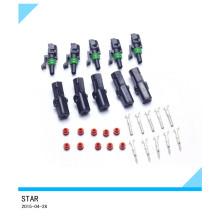 Hisenook 5 kit cable de alambre eléctrico a prueba de agua 1 pin conector de forma de conector