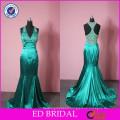 China Supplier Wholesale Mermaid Heavy Beaded Handwork Emerald Green Evening Dresses
