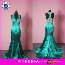 China Supplier Wholesale Mermaid Heavy Beaded Handwork Emerald Green Evening Dresses