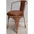 industrial leather chair copper plated finish