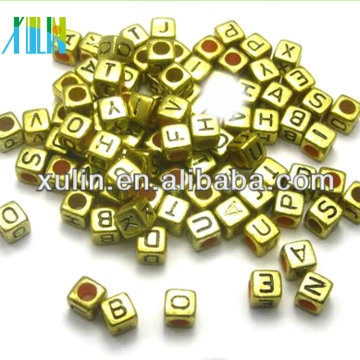 alibaba website Gold jewelry alphabet letter cube beads