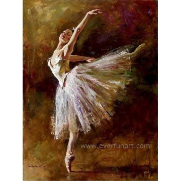 Modernes handgemachtes Ballerina-Ölgemälde auf Segeltuch für Hauptdekor (EIF-200)