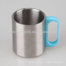 Taza de café de encargo del acero inoxidable con la manija plástica