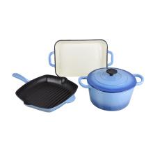 3-teiliges Set aus blauem Gusseisen-Emaille-Kochgeschirr