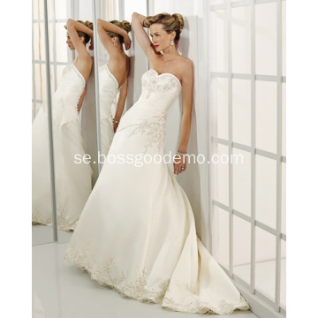 A-line Sweetheart Cathedral Train Satin Beading Wedding Dress leverantör