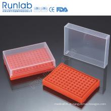 Racks de tubo de PCR de 96 poços com tampa