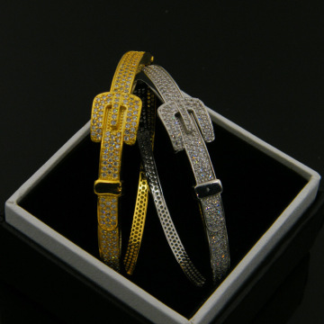 China for Women'S Cz Copper Bracelet Zircon Diamond Gold Belt Copper Band Party Bangle supply to Italy Factories