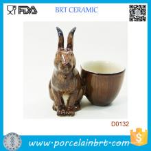 Coupe d'oeuf en porcelaine décorative populaire de lapin