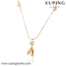 41875-fine bijoux collier en or 18 carats serti de porcelaine