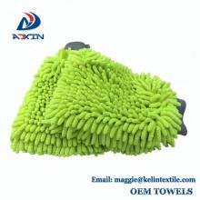 Lavage de voiture de vert de chaux lavant des gants de nettoyage de mitaine de chenille de Microfiber pour la voiture