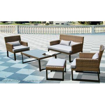 Conjunto de sofá de vime de vime de plástico moderno europeu e cadeiras de lazer Conjunto de móveis de exterior (F866)