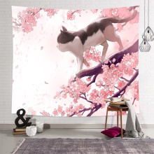 Sakura Tapestry Wall Hanging Flower Cat Cherry Blossoms Wall Tapestry Pink Nature Spring Wall Art for Livingroom Bedroom Home Do