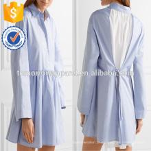 Venda quente azul e branco manga longa de algodão mini vestido de verão manufatura atacado moda feminina vestuário (ta0025d)