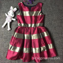 Fashionable Navy Style Girl Stripe Dress  Princess red And Golden Stripe Dress