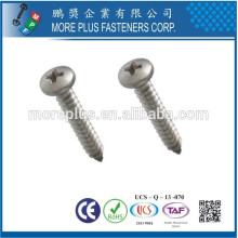Fabriqué à Taiwan en acier inoxydable 306 # 8 Phillips Drive Round Head Self Tapping Screw