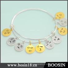 Bracelete ajustável expansível da pulseira do fio de Emoji da prata 925 esterlina