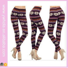 Plus Size Xmas Snowflake Fleece Warm Stretch Pants (14341)