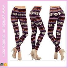 Plus Size Floco de Neve Xmas Fleece Warm Stretch Pants (14341)