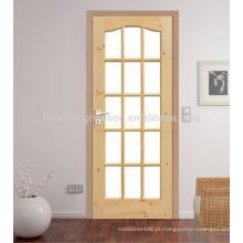 Design de porta de vidro de madeira extravagante para o quarto, porta de vidro de madeira interior