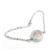 Nova moda legal pulseira cadeia de cristal, aço inoxidável 316l pulseira pingente flutuante atacado