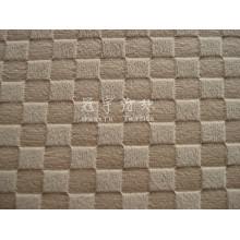 Tecido para sofá de pilha curta em relevo de poliéster com padrão de grade