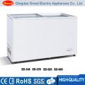 ETL Approved Commercial Portable Sliding Glass Flat Door Chest Freezer