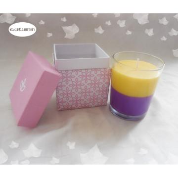 Bougie romantique à la cire de mélange coloré / 7.5 * 9 cm Bougie en verre au parfum parfumée